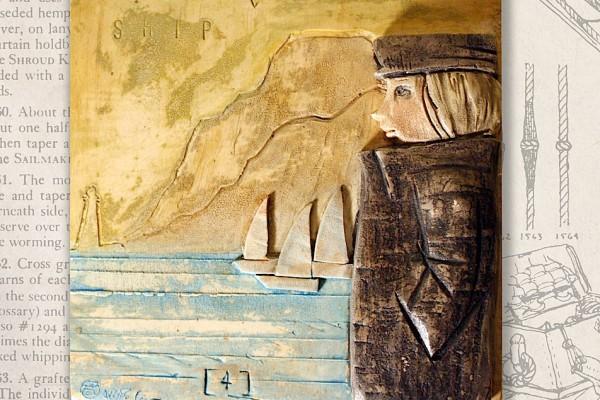 Bassorilievo in caolino decorato con ossidi e pigmenti - 15 x 15 cm