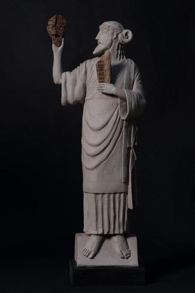 Grès semirefrattario e legno - h 75 cm